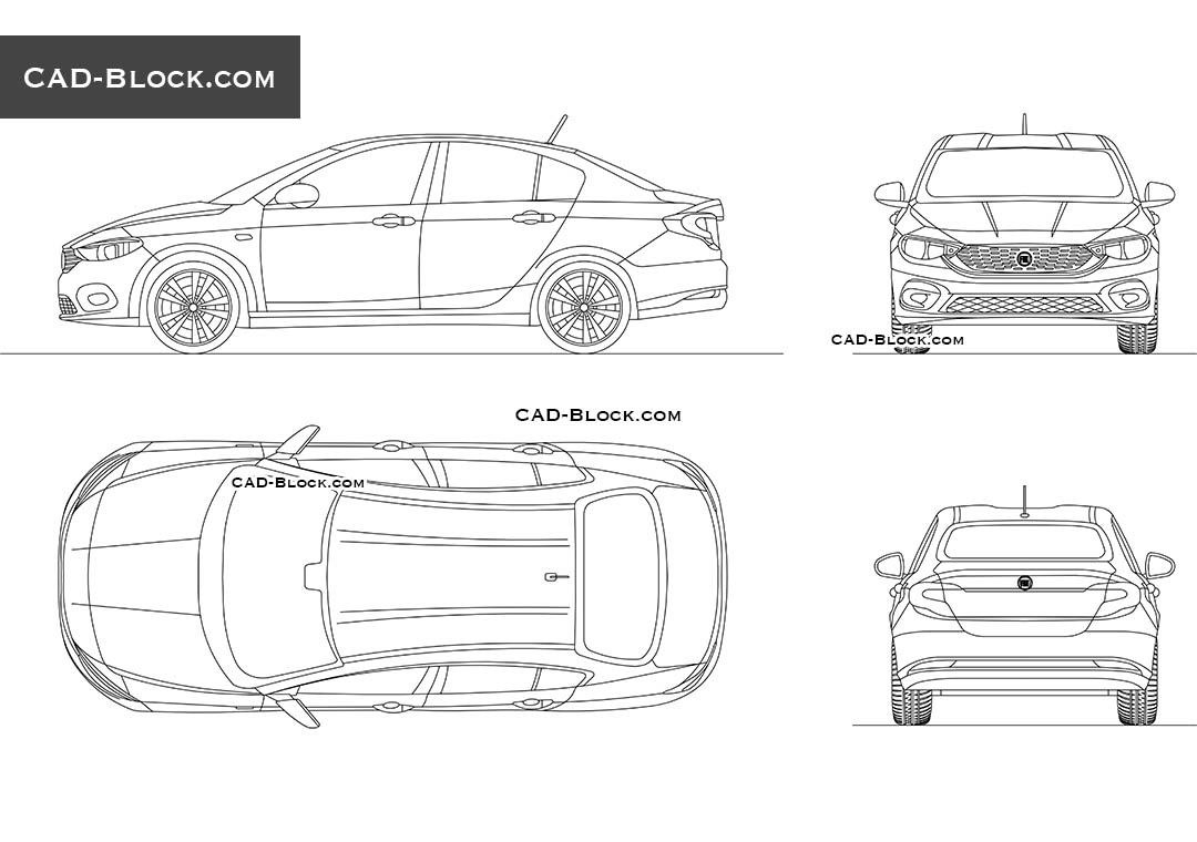 Fiat Tipo download CAD Block, DWG file