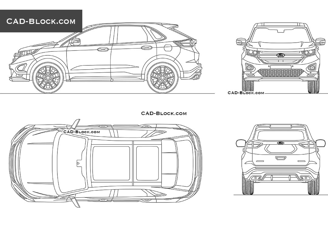Ford Edge CAD block download, DWG drawings