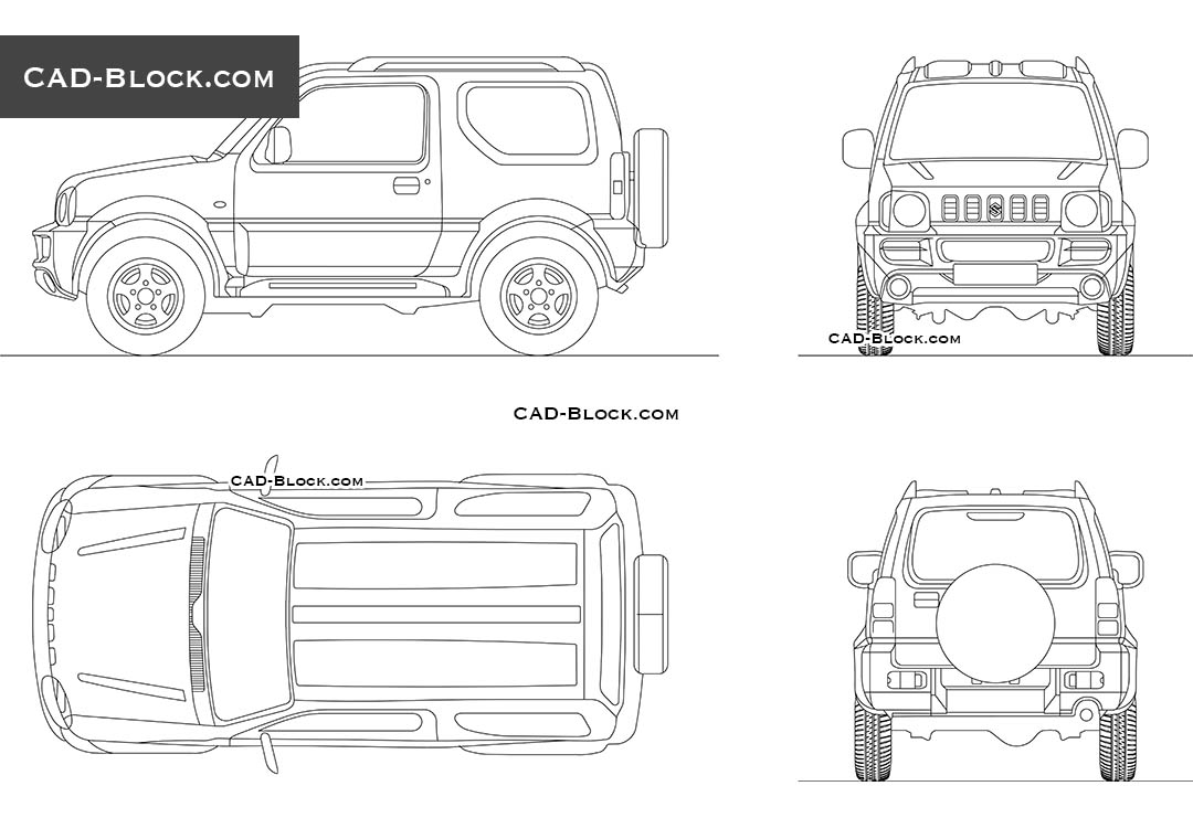 Suzuki Jimny AutoCAD model, top, rear, side, front views