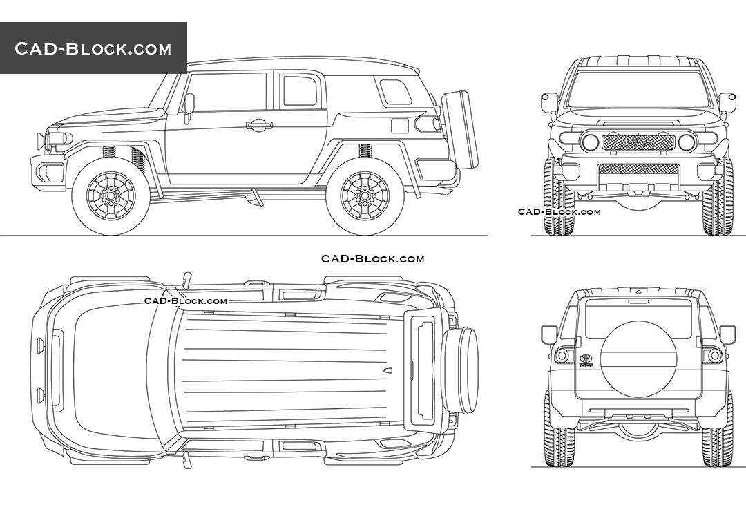 Toyota FJ Cruiser 2D CAD model in DWG format