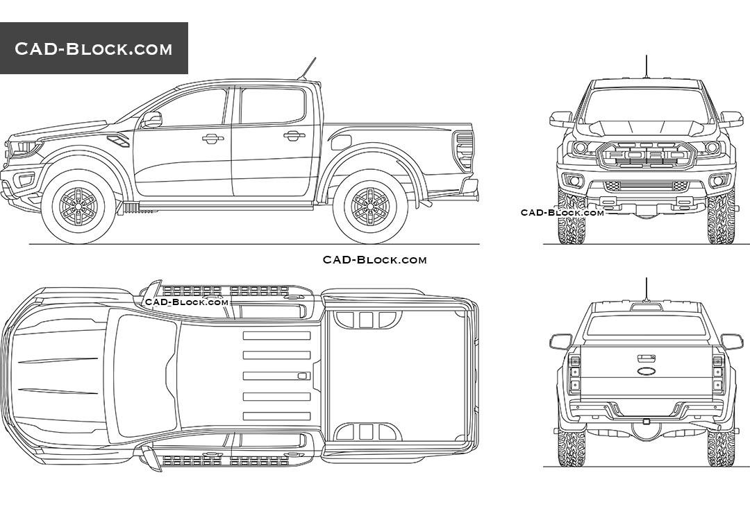 Ford Ranger Raptor CAD Block, download AutoCAD file