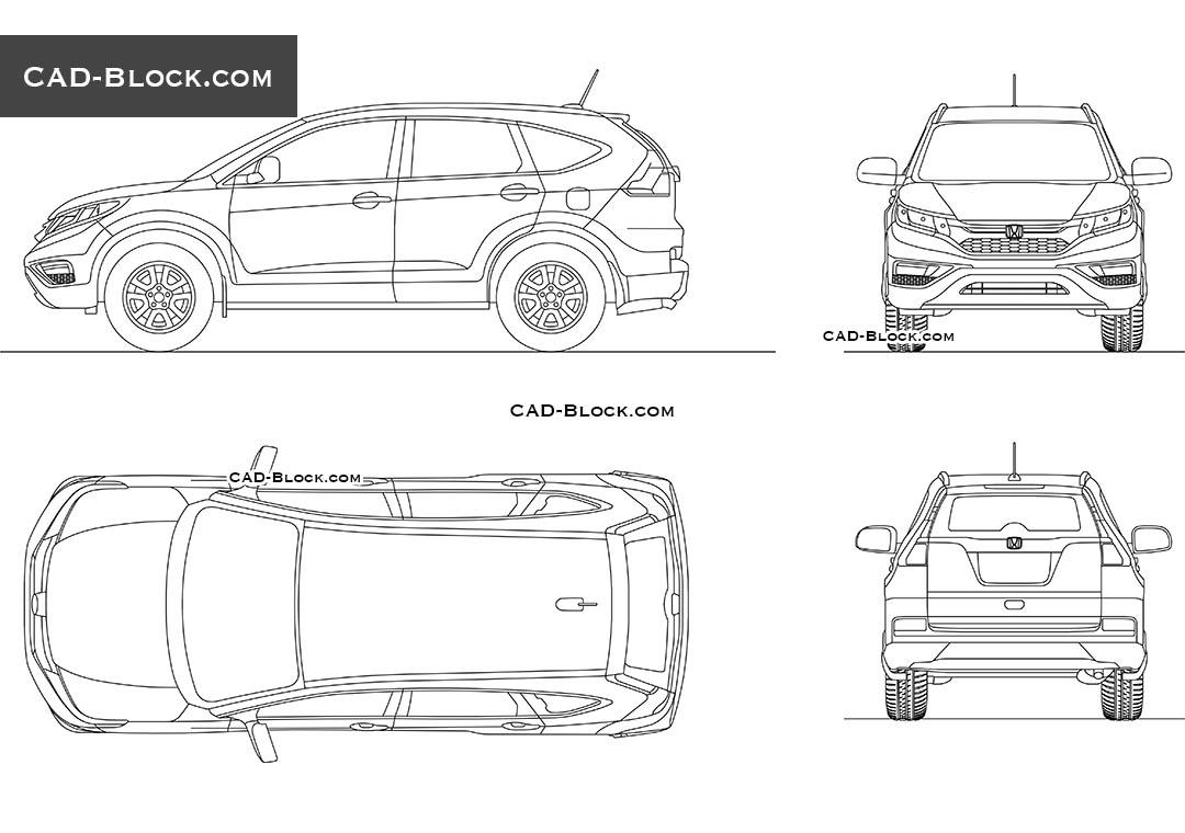 Honda CR-V AutoCAD Block, 2D CAD model