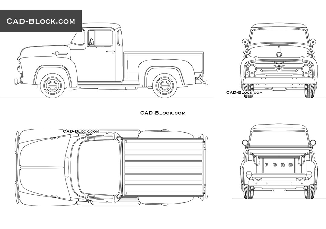 Ford F100 (1956) retro Pickup CAD Blocks, AutoCAD format