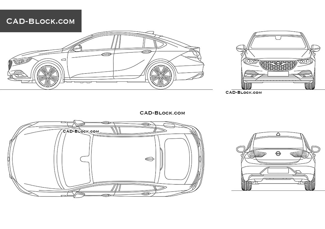 Opel Insignia CAD block in AutoCAD. Car top, side, front