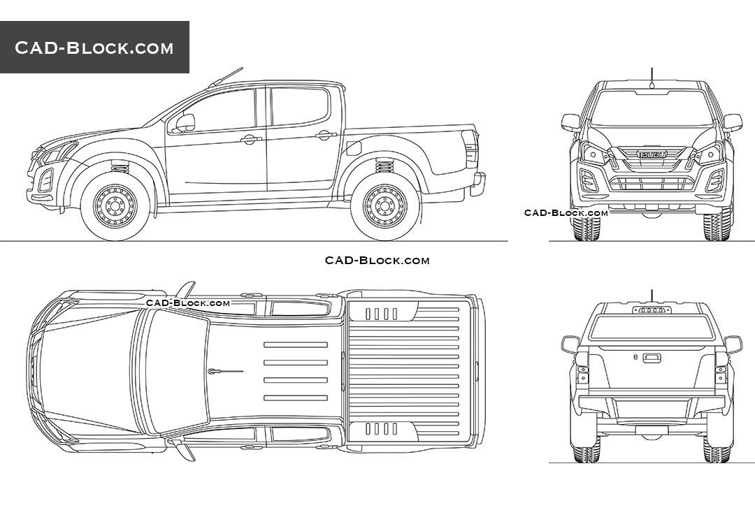Isuzu D-Max Double Cab 2D AutoCAD model