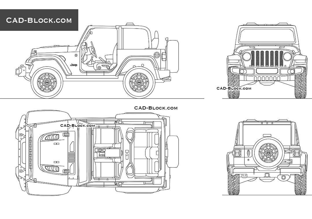 Jeep Wrangler Rubicon car AutoCAD drawing