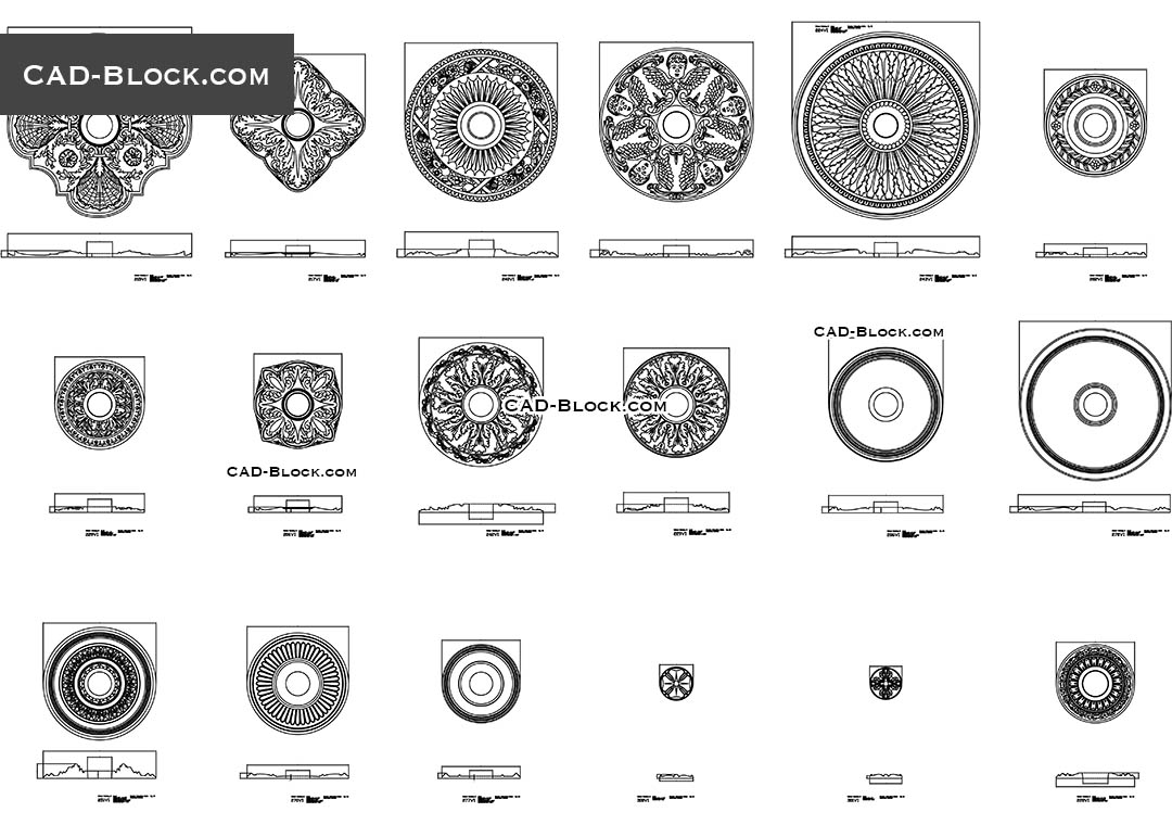 Rosette CAD blocks, 2D AutoCAD drawings in plan, elevation
