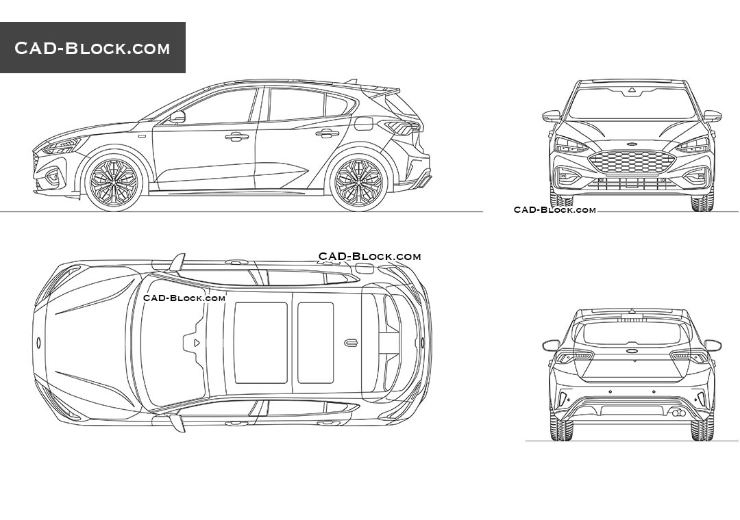 Ford Focus St-line AutoCAD car model, DWG blocks