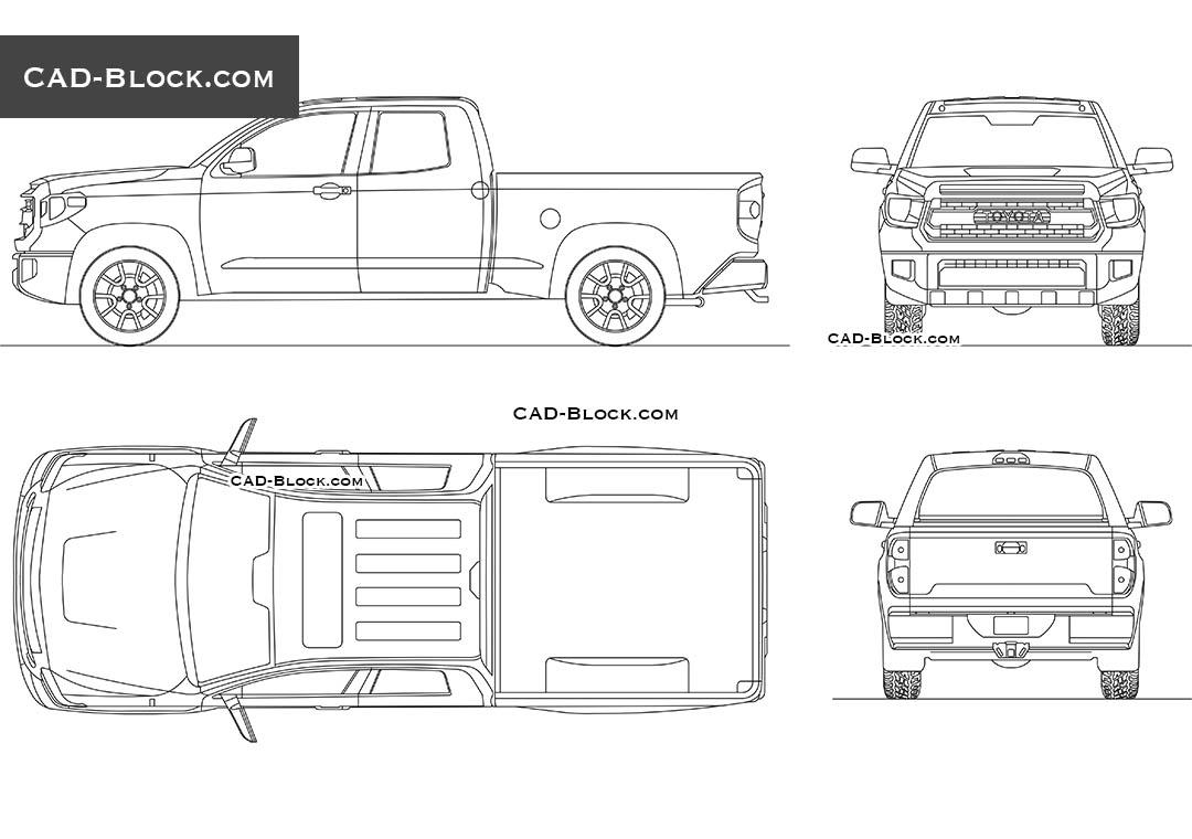 Toyota Tundra car AutoCAD blocks, 2D CAD drawings