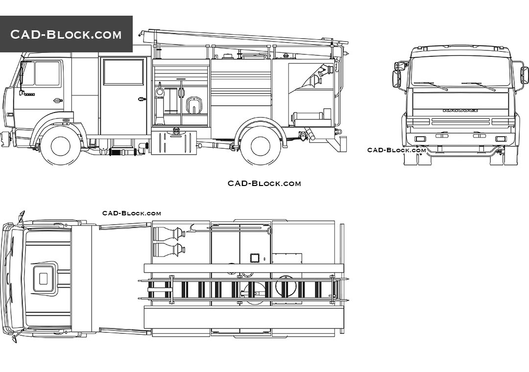 hight resolution of fire truck cad block 2d model in autocad vector file