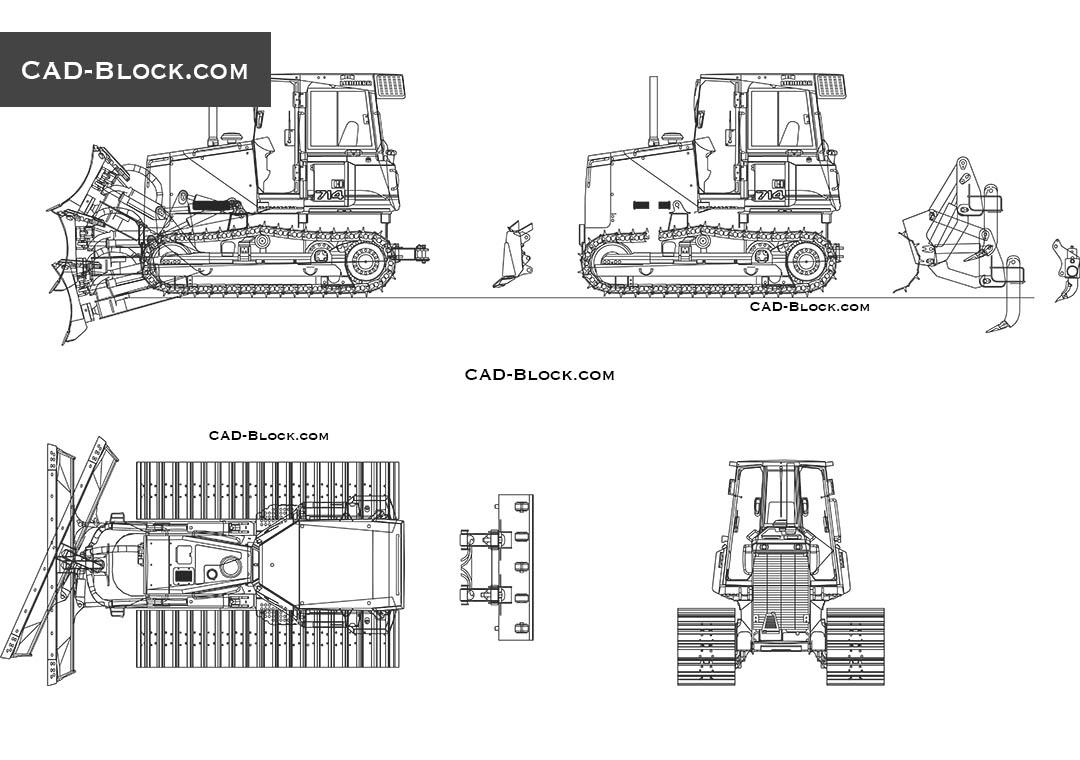 Liebherr PR 714 LGP 2D CAD drawing, AutoCAD blocks