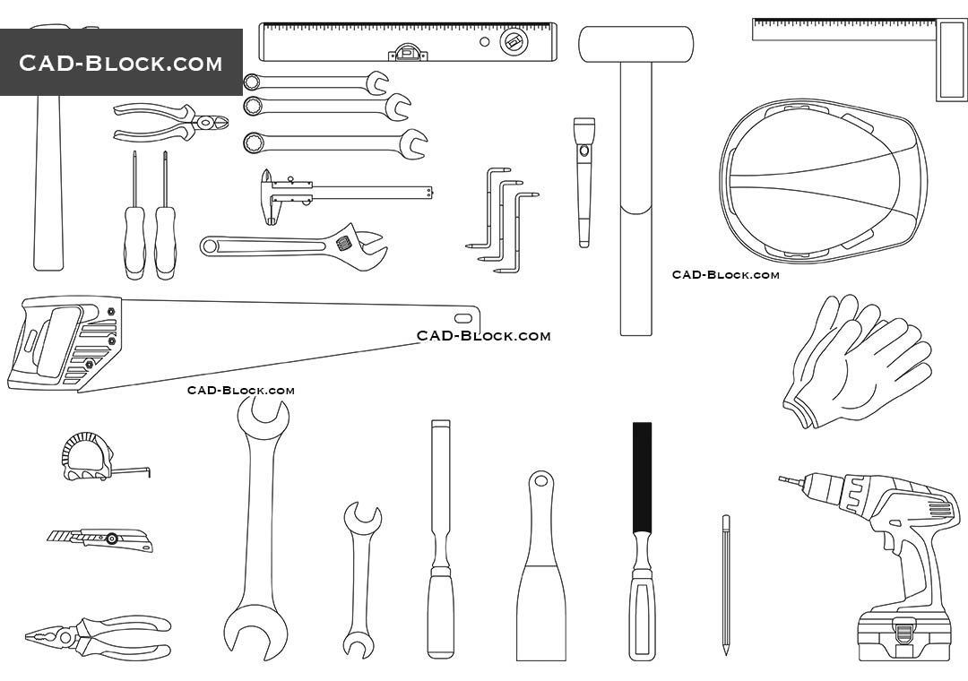 Construction Tools CAD drawings, AutoCAD Blocks Library