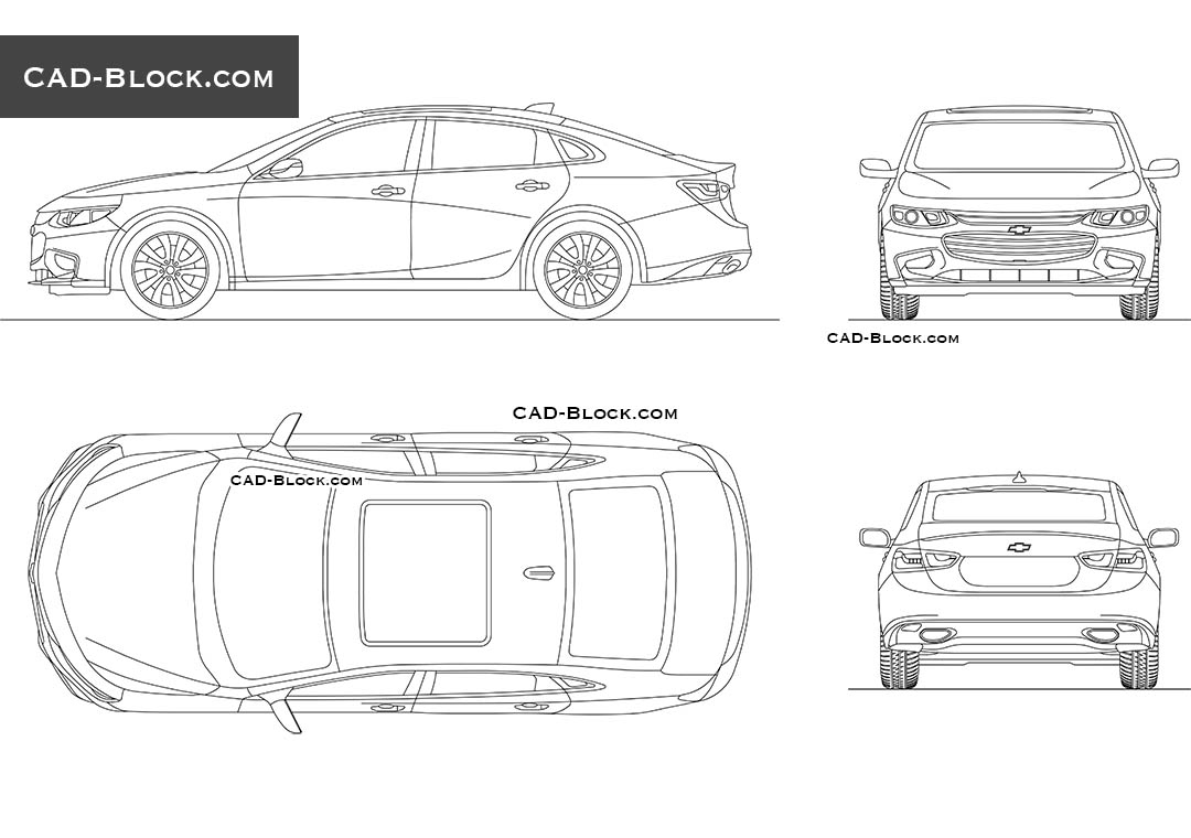 Chevrolet Malibu car CAD blocks