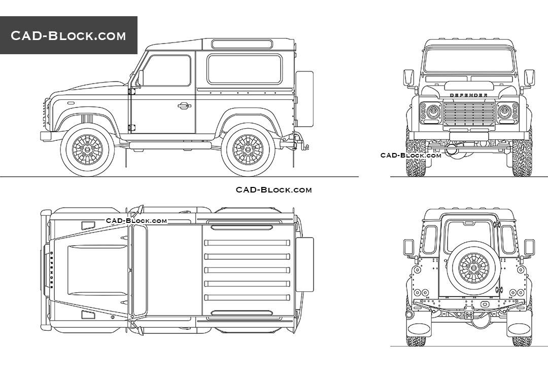 2D AutoCAD model of a Land Rover Defender Works V8