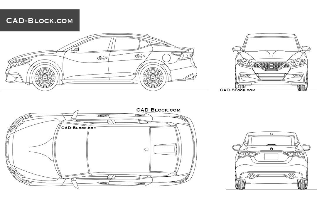 Nissan Maxima AutoCAD Block, DWG drawings