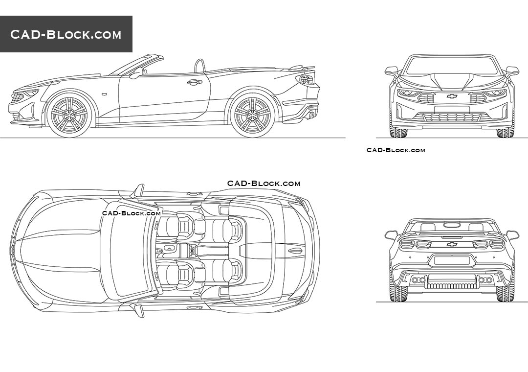 Chevrolet Camaro Convertible CAD Block, 2D model