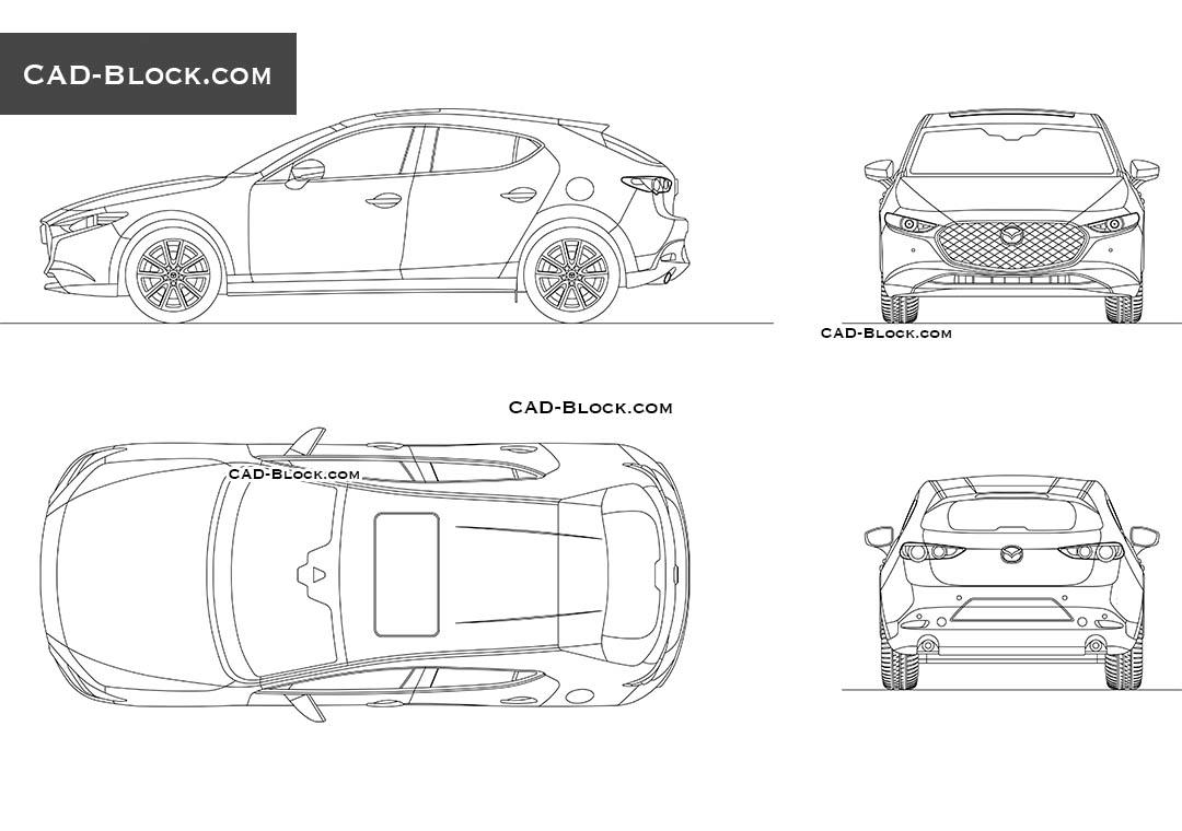Mazda 3 Hatchback DWG file