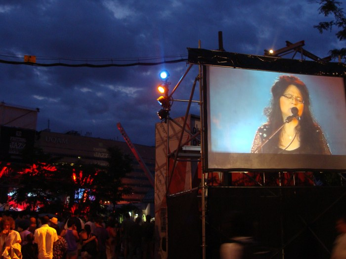 Susie Arioli on screen for her performance at the Festival International de Jazz de Montréal  • Montreal, QC
