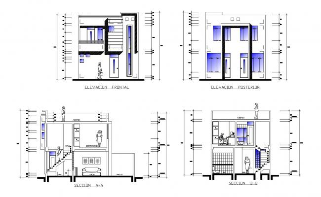 Residential Building 2 Storey House Floor Plan Autocad