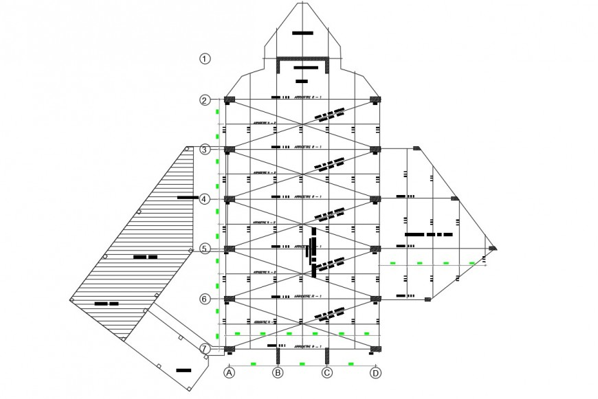 Meditation chapel elevation and section cad drawing