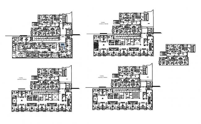 All floors layout plan details of multi-level maternity