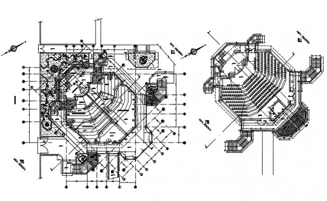 Auditorium plan detail dwg file