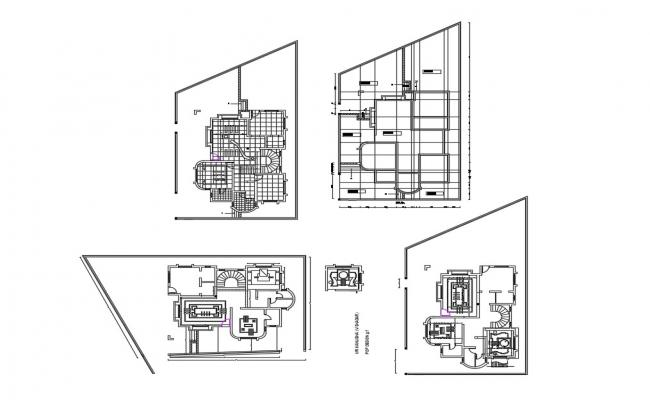 Bungalow floor plan and cover plan cad drawing details dwg