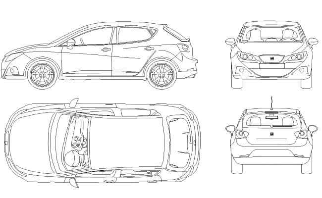 CAD vehicle Car block detail elevation 2d view layout file