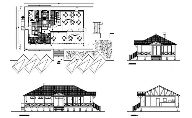 Classic restaurant elevation, section and plan cad drawing