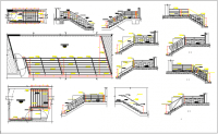 Commercial building elevation, plan view, stairs section ...