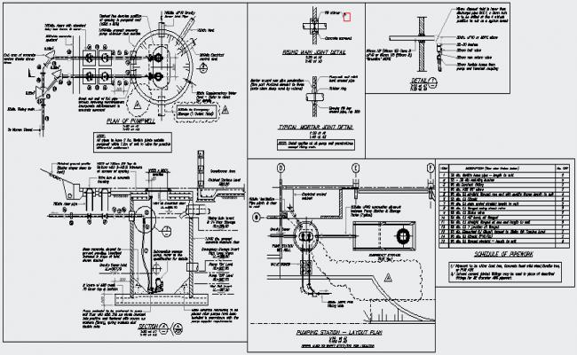 Detail drawing of pumping station design drawing