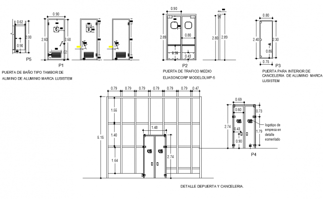Door framing elevation detail dwg file