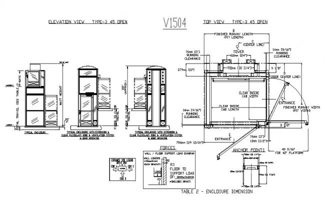 Door operator and ventilation and installation cad drawing