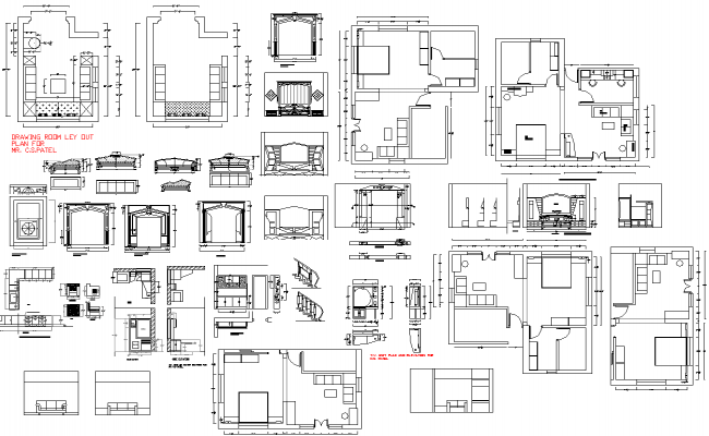 Drawing room of house section and furniture layout details