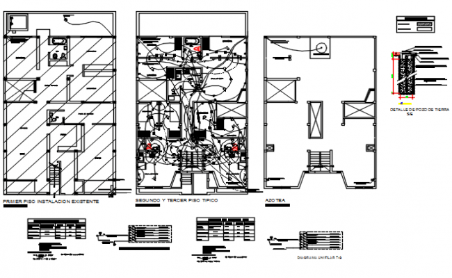 Office building floor electrical plan layout detail view