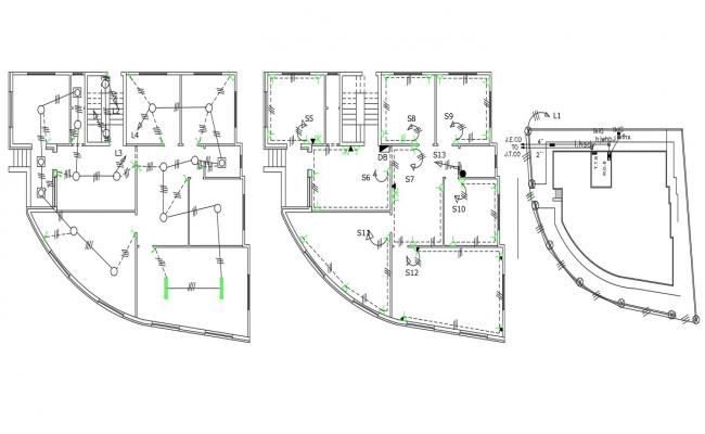 Three levels family house electrical installation layout