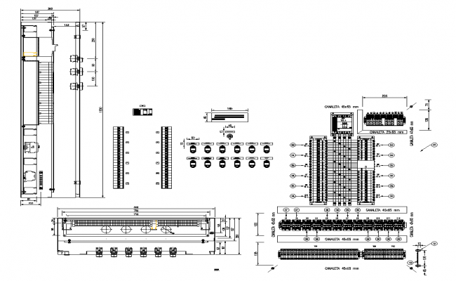Electrical board installation detail elevation 2d view dwg