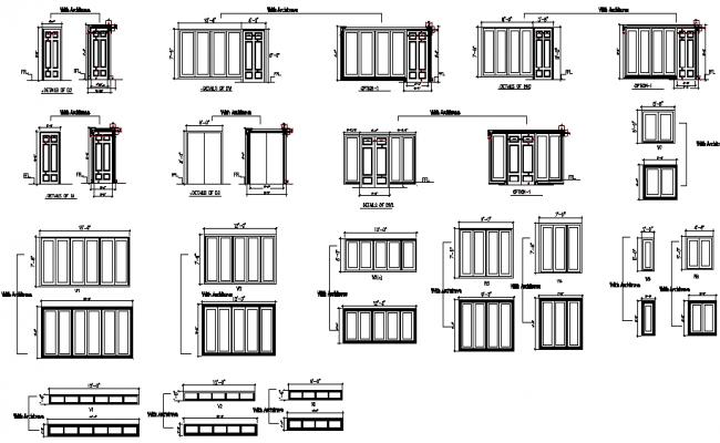 Elevation door framing architect design detail dwg file
