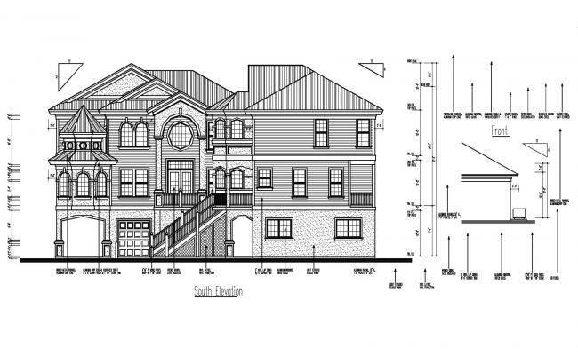 Elevation drawing of the bungalow with detail dimension in