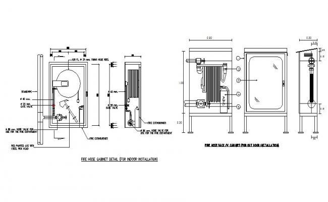 Fire hose cabinet indoor electrical installation details