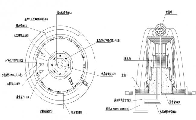 Circular fountain elevation and plan layout file in dwg