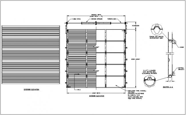 garage door design  exterior  interior view dwg file