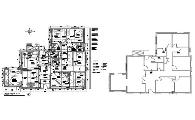 Ground floor and framing plan details of one family house