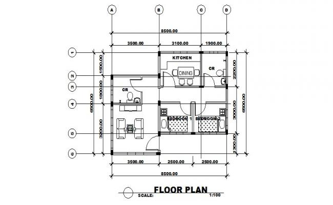 Ground floor plan details of small house cad drawing