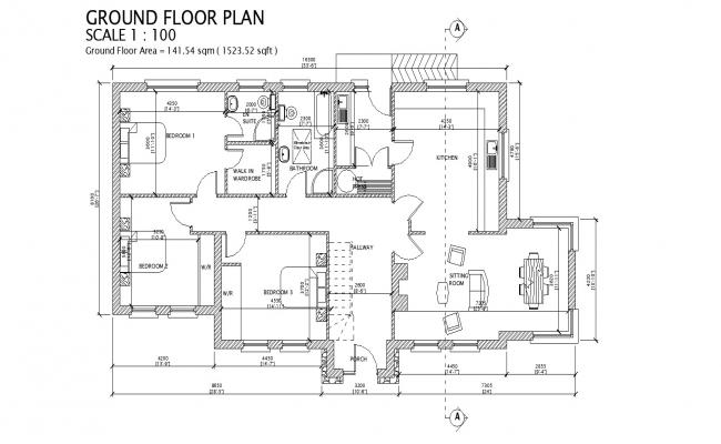 Ground floor plan of residential house 53'6'' x 26'7'' in