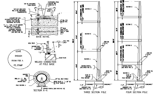 High mast pole lighting acacia installation details dwg file