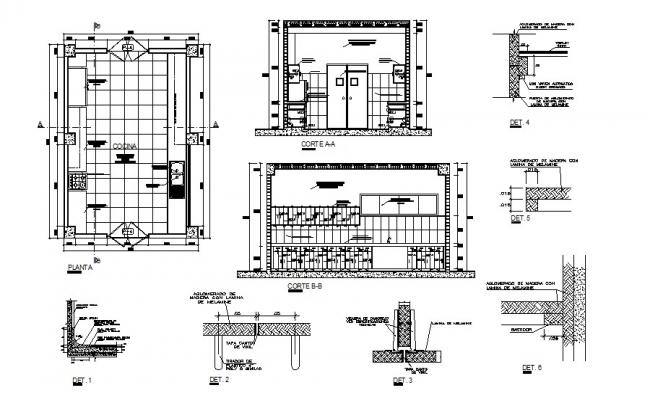 Hotel kitchen constructive section, plan and auto-cad