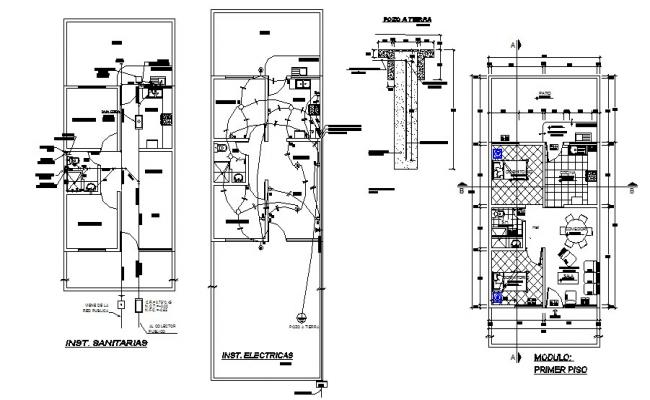 House floor plan and electrical layout plan cad drawing
