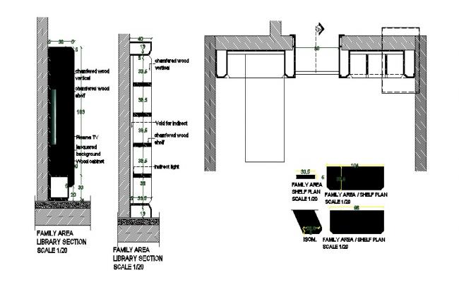 House furniture and interior section and plan cad drawing