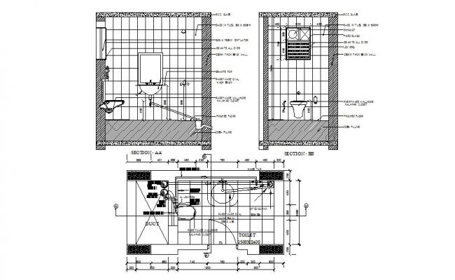 House toilet section and sanitary installation details dwg